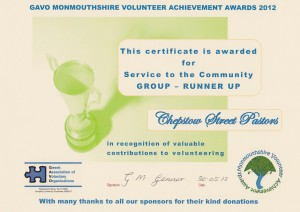 GAVO Runner Up 2012 Certificate